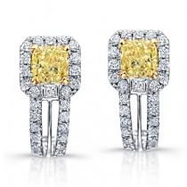 Princess Yellow Diamond Dangle Earrings