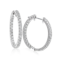 18K GOLD WHITE LE4582 HOOP EARRING