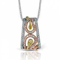 18K WHITE & YELLOW & ROSE GOLD, WITH WHITE & YELLOW & ROSE DIAMONDS. MP1478 - PENDANT
