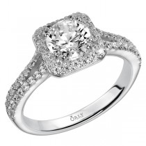 Round Brilliant Cut Diamond Halo with Split Diamond Shank Ring