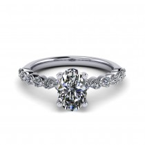 White Gold Oval Cut Diamond in Elegance Setting  2.01 carats tw