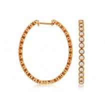 14K Rose Gold Diamond Hoop Earrings