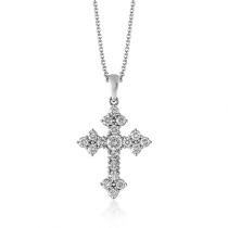 18K GOLD WHITE PP115 CROSS PENDANT