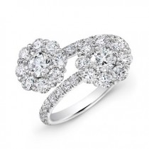 14K White Gold Diamond Floral Bypass Ring