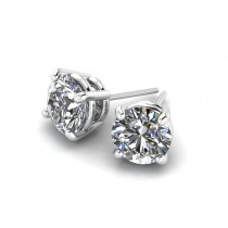 14K White Gold Diamond Studs 1 1/4 carat