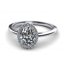14K White Gold Oval Diamond with Halo .40 carat tw