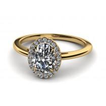 14K Yellow Gold Oval Diamond with Halo .38 carat tw