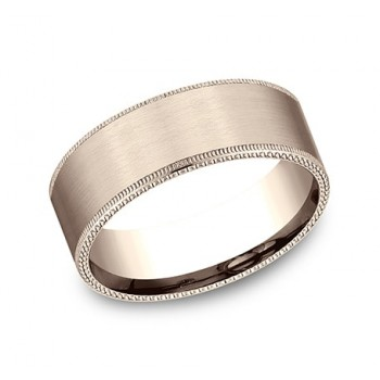 BENCHMARK Mens Rose Gold Wedding Band CF68434R