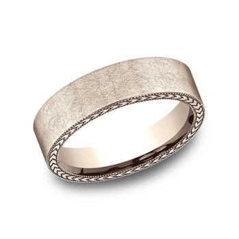 BENCHMARK Mens Rose Gold Wedding Band CF8465397R