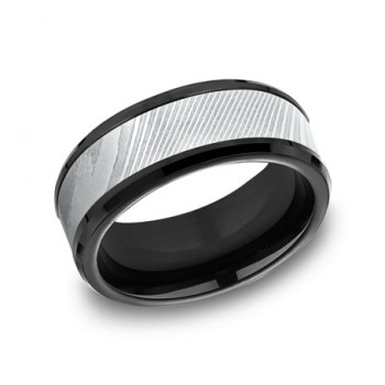 FORGE Mens Two-Tone Wedding Band CF109814BKTDS