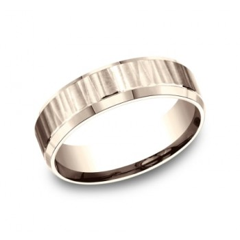 BENCHMARK Mens Rose Gold Wedding Band CF66614R