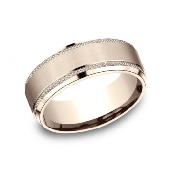BENCHMARK Mens Rose Gold Wedding Band CF68321R