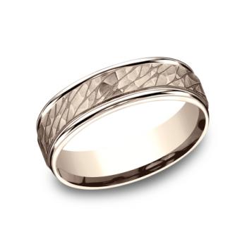 BENCHMARK Mens Rose Gold Wedding Band RECF8465393R