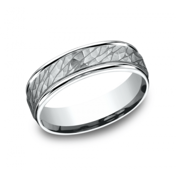 BENCHMARK Mens White Gold Wedding Band RECF8465393W