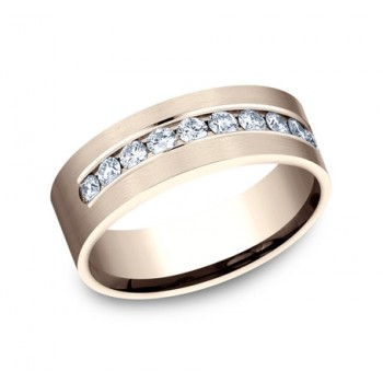 BENCHMARK Mens 14k Rose Gold Wedding Band CF528530R