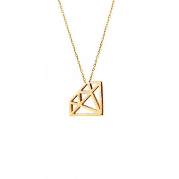Yellow Gold Cutout Diamond Pendant