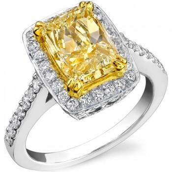 Platinum and Yellow Gold Radiant Fancy Yellow Diamond Ring