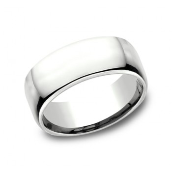 CLASSIC Mens 14k White Gold Wedding Band EUCF190W