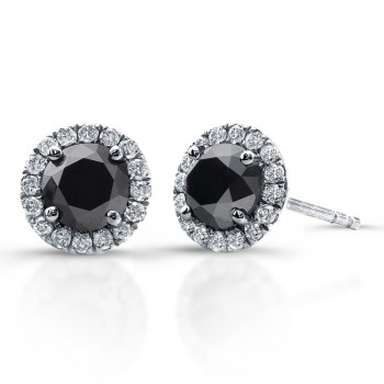 14k White Gold Black Diamond Stud Earrings with Halo