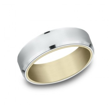 BENCHMARK Mens Two-Tone Wedding Band RIRCF8065335WY