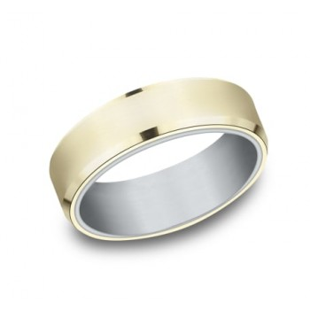 BENCHMARK Mens Two-Tone Wedding Band RIRCF8165335WY