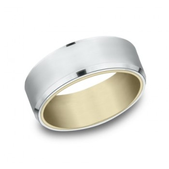 BENCHMARK Mens Two-Tone Wedding Band RIRCF808335WY