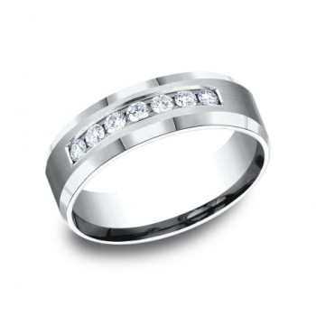 BENCHMARK Mens White Gold Wedding Band CF527149W