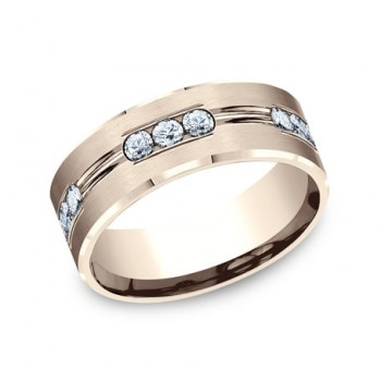 BENCHMARK Mens 14k Rose Gold Wedding Band CF528533R