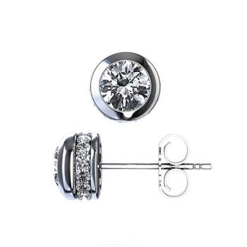 14K White Gold Bezel Set Diamond Studs with Diamonds around Bezel