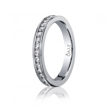 3mm Oval Polished Finish Full Diamond Channel Set Comfort Fit Band