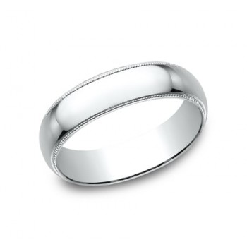 CLASSIC Mens 14k White Gold Wedding Band 360W