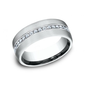 BENCHMARK Mens 14k White Gold Wedding Band CF717573W