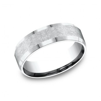 BENCHMARK Mens White Gold Wedding Band CF67417W