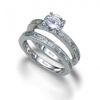Round Brilliant Cut Diamond with Beaded Baguette Shank