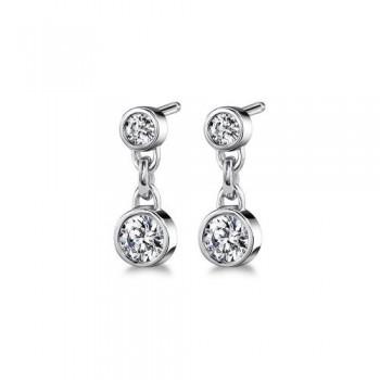 14 White Gold Diamond Double Bezel Stud Earrings