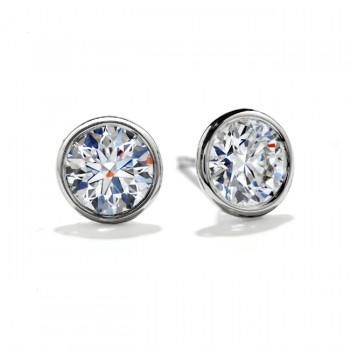 14k White Gold Bezel Set Classic Round Brilliant Cut Diamond Stud Earrings
