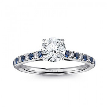 Round Brilliant Cut Diamond with Alternating Sapphires & Diamonds Shank