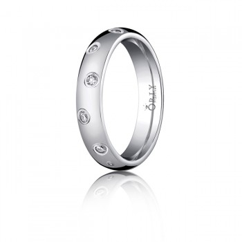 4mm Oval Polished Finish Diamond Comfort Fit Band
