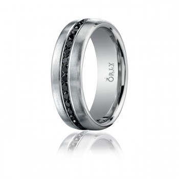 7.5mm Brushed Finish Partial Black Diamond Comfort Fit Band