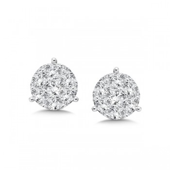 14K White Gold Diamond Star Cluster Studs look 3.00 carat