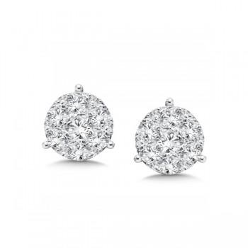 14K White Gold Diamond Star Cluster Studs look 1.00 carat