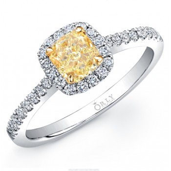 White and Yellow Gold Radiant Fancy Yellow Diamond Ring