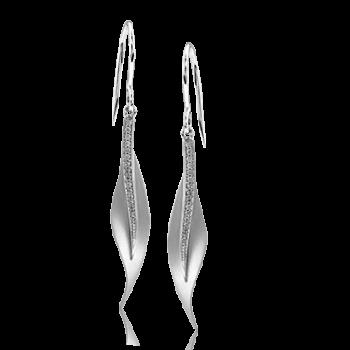 18K WHITE GOLD, WITH WHITE DIAMONDS. DE117 - EARRING