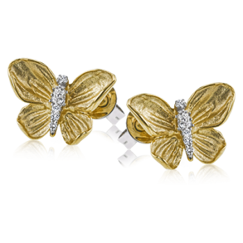 18K YELLOW GOLD, WITH WHITE DIAMONDS. DE271 - EARRING