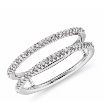14K White Gold Double Row Diamond Ring Jacket/Insert 1/2 carat total weight