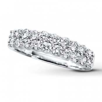 14K White Gold Double Row Diamond Band