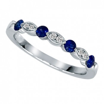 14K White Gold Sapphire Diamond Wedding Band