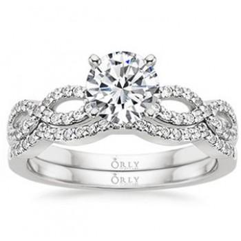 Round Brilliant Cut Diamond Infinity Ring and  Matching Wedding Band Set