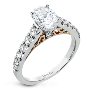 18K GOLD TWO TONE LP2356-OV ENGAGEMENT RING
