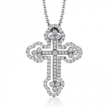 18K GOLD WHITE LP4075-A CROSS PENDANT